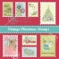 Vintage Christmas post stamps vectors
