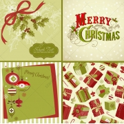 Traditional green and red Christmas cards vectors