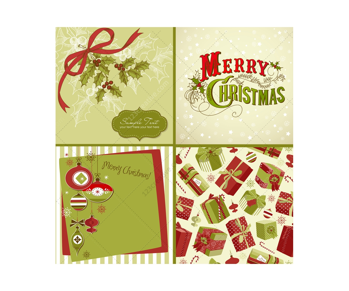 Christmas vectors in traditional green and red vector pack full of traditional green and red christmas cards vectors kristyandbryce Gallery