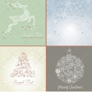 Soft ornamental Christmas motives, reindeer, ball, tree, snowflakes vector collection
