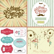 Merry CHristmas title, Retro Christmas card vectors, frames, labels, decorations vectors