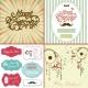 Merry CHristmas title, Retro Christmas card vectors, frames, labels, decorations vectors