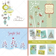 Winter and Christmas vectors in blue and green