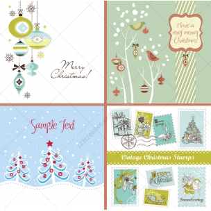25 Winter and Christmas vectors in blue and green