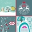 Winter and Christmas animal and landscape vector motives