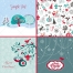 Winter and Christmas cards and patterns in blue and green