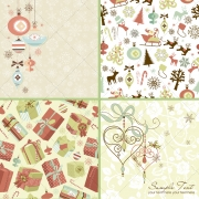 Christmas vectors and patterns in pastel colours
