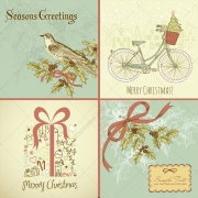 Hand-drawn seasons greetings Christmas vectors