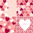 Valentine cards and patterns with hearts in soft pink colours