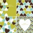 Valentine cards and patterns with hearts in green blue and brown