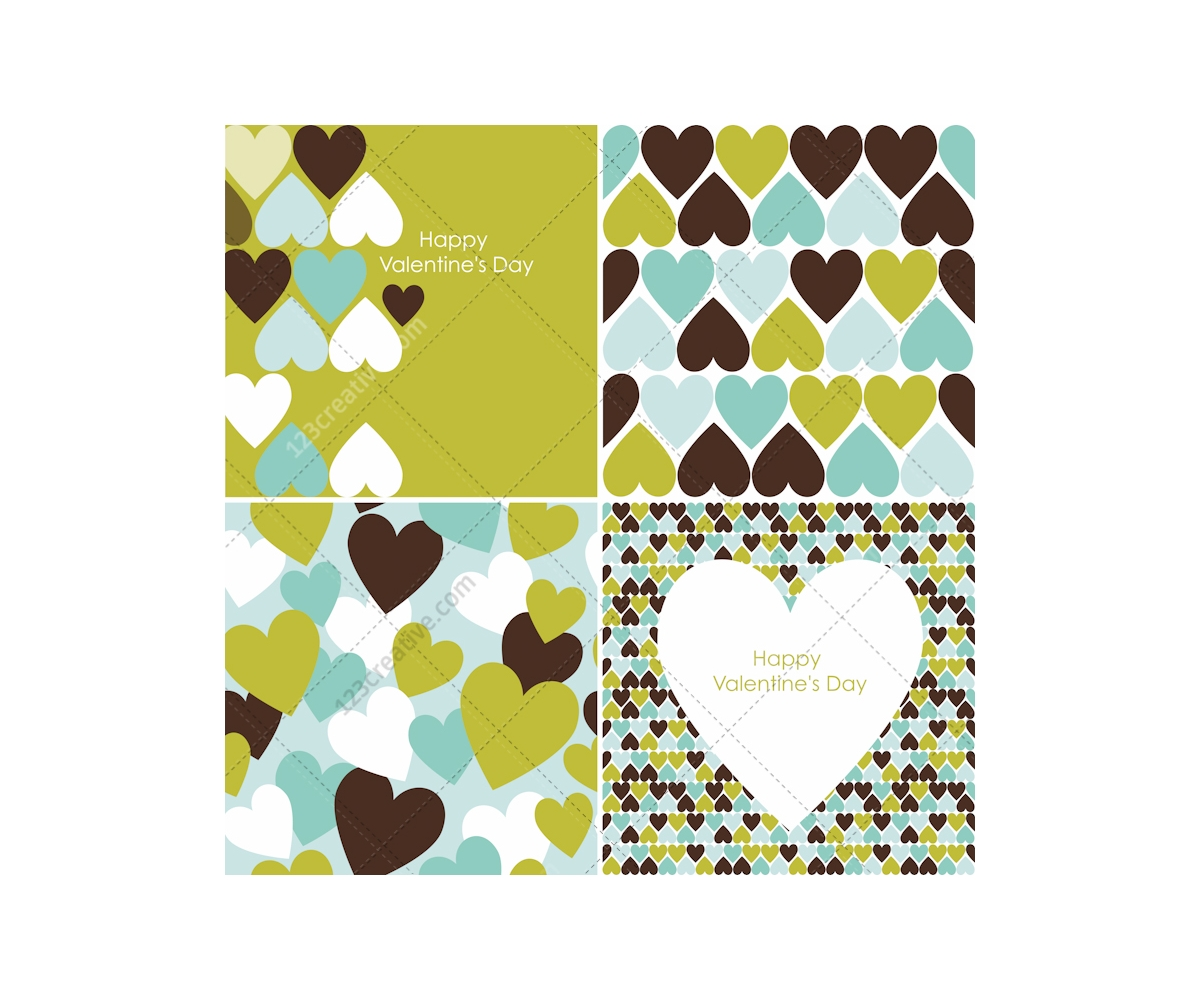 Valentine cards and patterns with hearts in many colours  buy