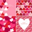 Valentine cards and patterns with hearts in red and pink
