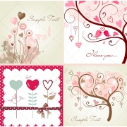 Valentine cards, abstract trees, floral and hearts vectors