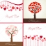 Valentine trees and hearts vector cards