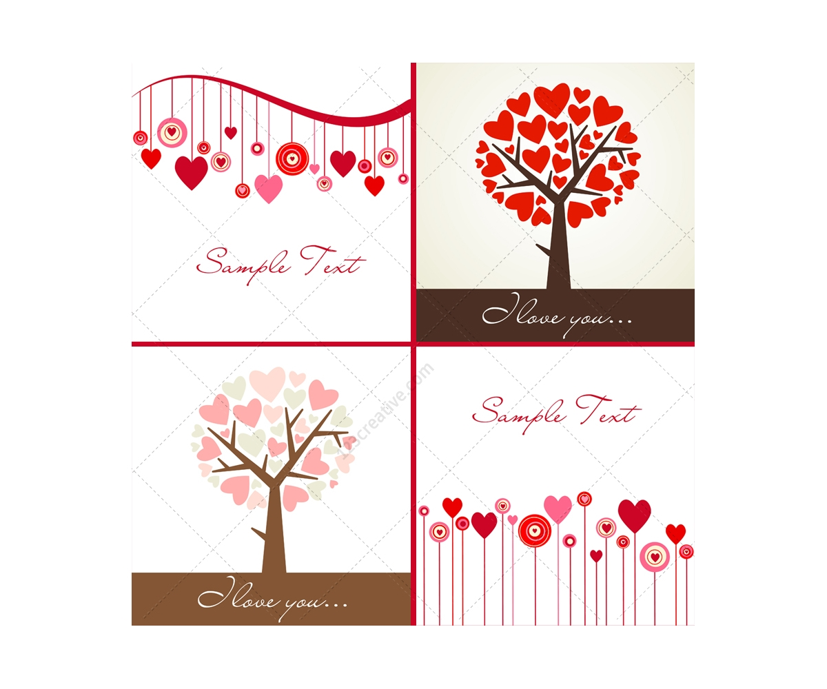 valentine trees and hearts vectors  card templates