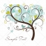 Valentine tree vectors in soft blue and green