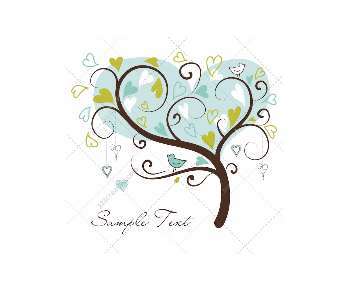 Download Valentine trees and hearts vectors - card templates ...