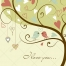 Soft green valentine tree with birds vector