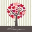 Hearted tree valentine greeting vector