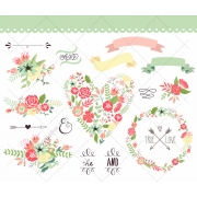 Vintage doodles flowers Valentine vectors