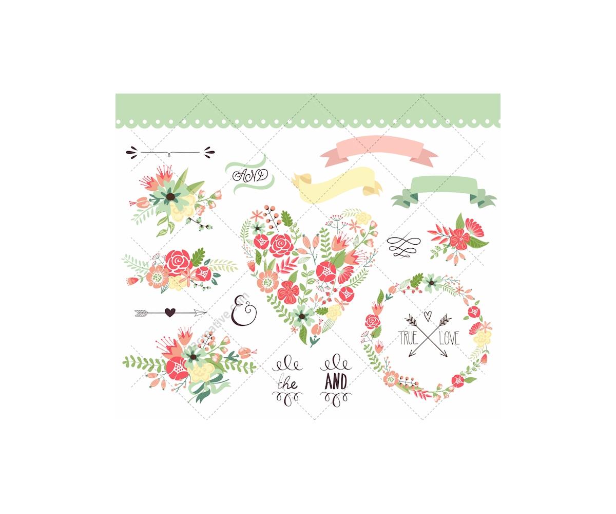 Vintage flowers and Valentine vectors - floral hearts ...