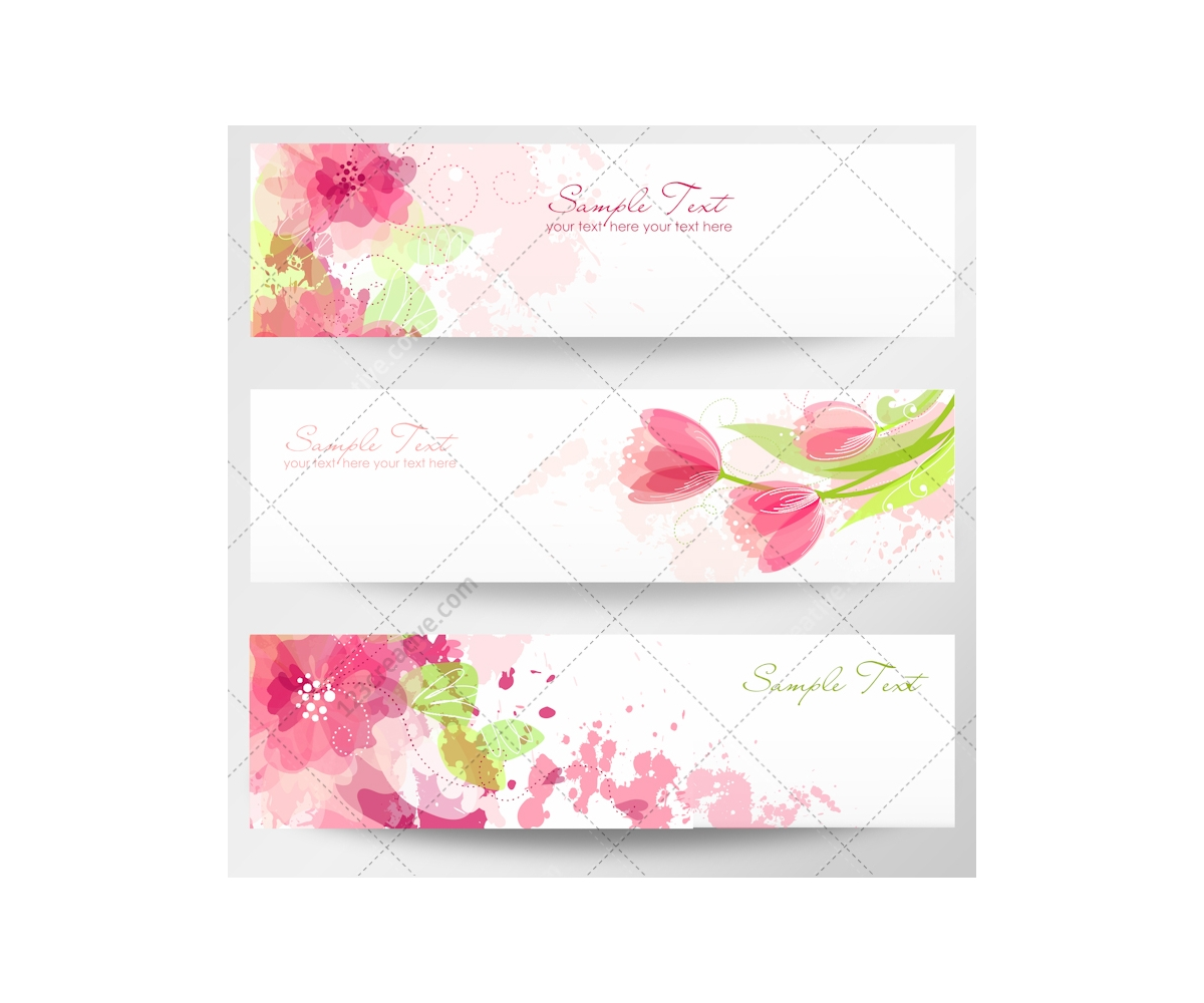 Spring and floral vector banners for website magazine for Fresh design