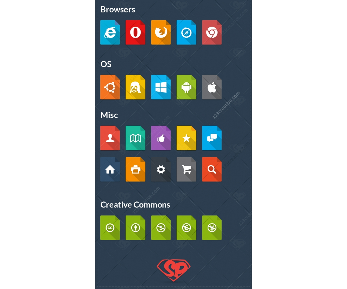 flat file icon set 51 square icons with shadows layered