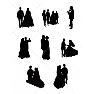 Wedding silhouettes vector pack