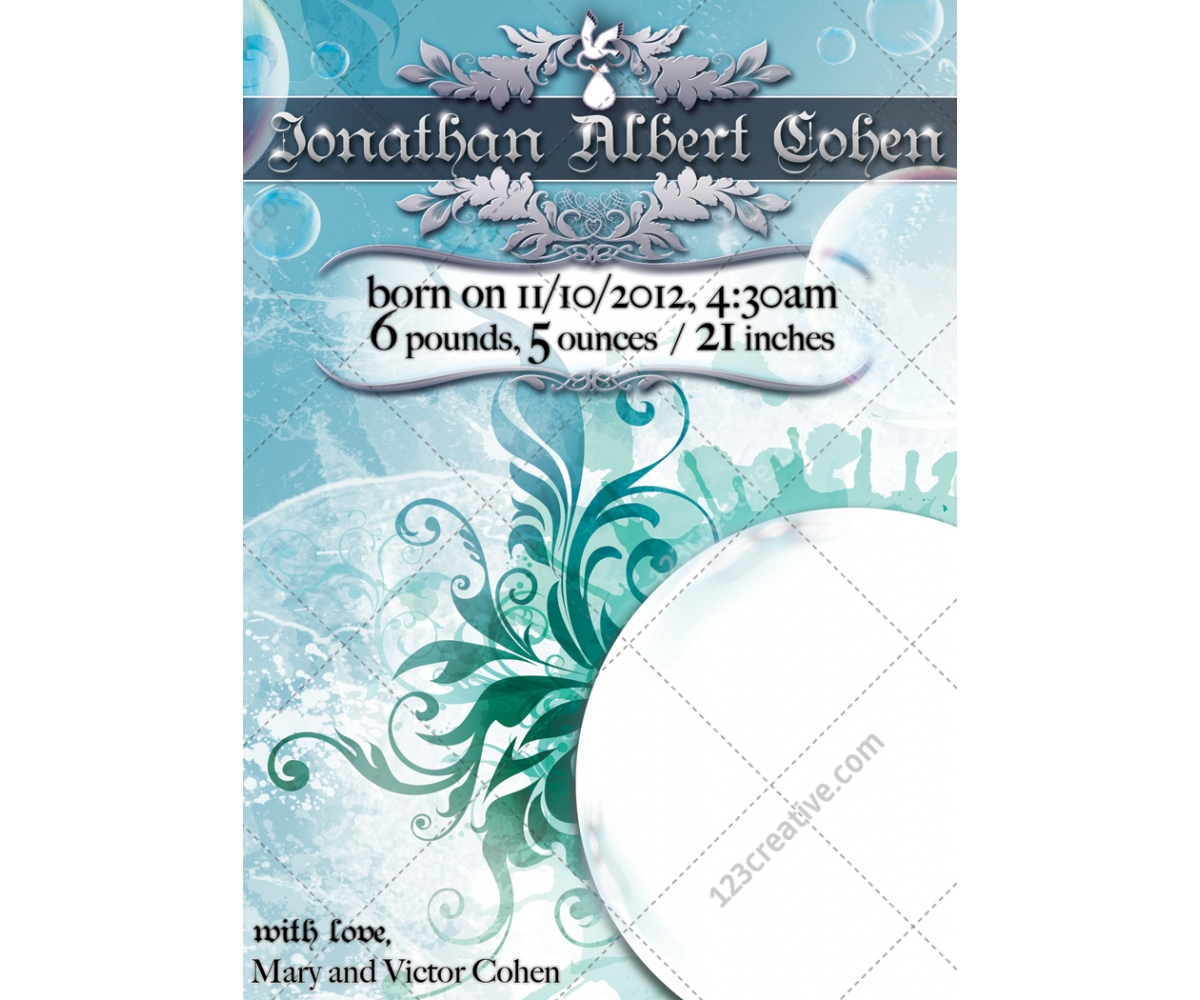 New Baby Annoucement Template Baby Card For Girl Or Boy