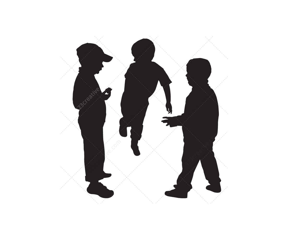 kids silhouettes vector pack boys and girls sillhouette