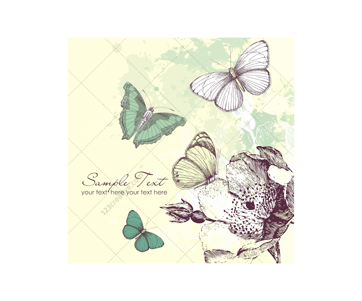 ... on vintage background, butterfly patterns and summer card templates
