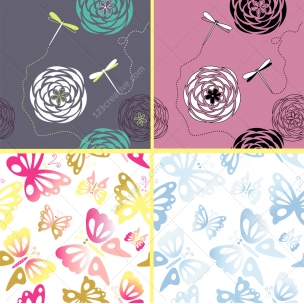 Lovely butterfly and dragonfly vector patterns