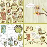 cute owls vector pack, cartoon owl vectors