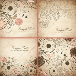 Vintage floral vector backgrounds and invitation cards