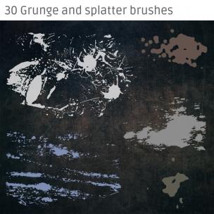 30 Grunge and splatter brushes pack