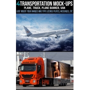 Transportation Mock-up Templates, truck mockup, plane mockup