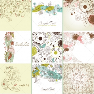 48 Floral ornamental vector cards and patterns