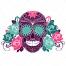 sugar skull with roses vector, girl T-shirt vector design