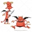 Red creature vectors, cartoon devil vector, monster vector