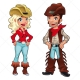 Cowgirl and cowboy vectors, rodeo vector, country ranch vector, countryside people vector