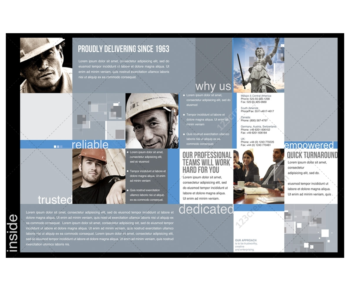 2 Pages Corporate Brochure template for construction industry – Company Brochure Templates