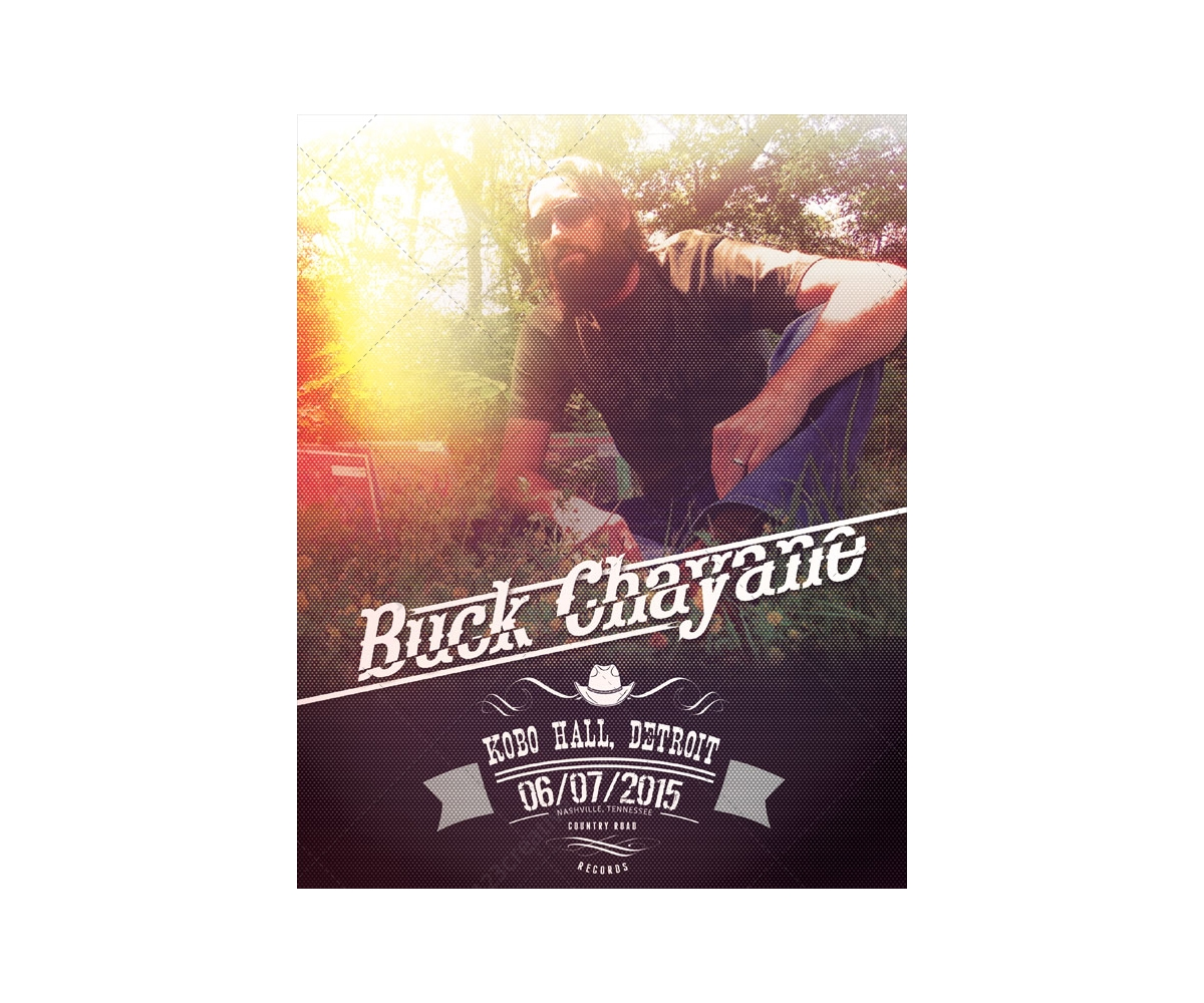 Country Music Poster Template Vintage Style With Halftone Effect