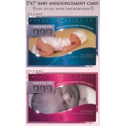Baby Announcement Card template photoshop, pink newborn girl announcement, blue newborn boy announcement,