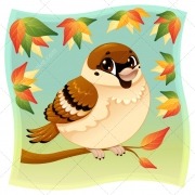 Color sparrow illustration vector, color bird vector, sparrow in park