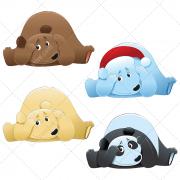 Cute bear illustration vectors, bear with santa claus cap, cartoon panda bear vector
