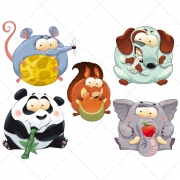 Crazy animal illustration vectors, crazy cartoon animals panda, mouse, squirrel, dachshund , elephant,hungry and finicky animals