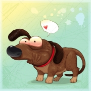 dachshund vector, animal with speech bubble vector, shy animal vector, fall in love vector