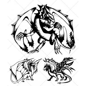 Sketch Dragon vectors collection