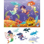Sea illustrations with Mermaid, treasure, shark and dolphin vectors