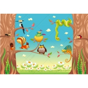 Funny animals on tree vector illustration, Funny cartoon vector illustration